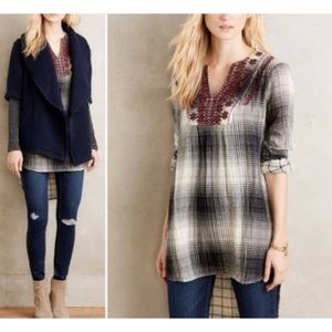 NEW Anthropologie Floreat Plaid High Low Tunic